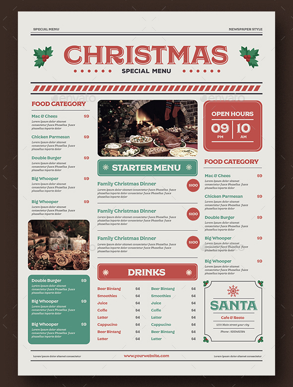 Special Christmas Menu Template