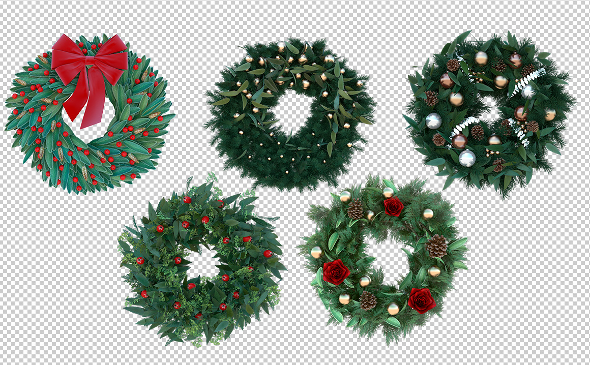 3D Christmas Wreath PNGs