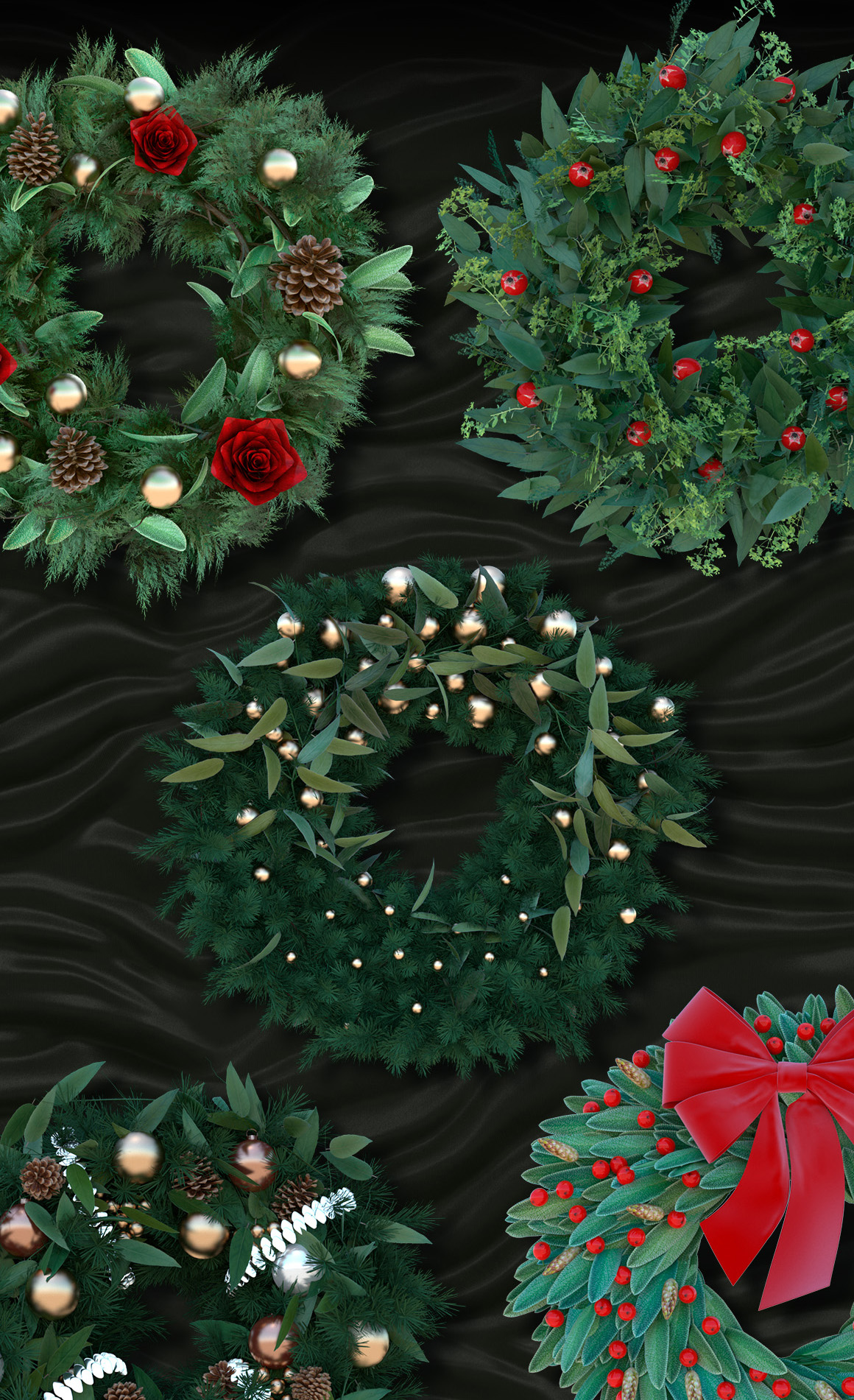 Christmas Wreath PNGs Renders