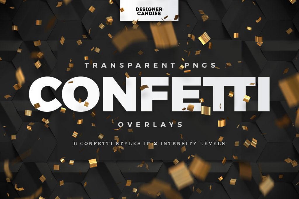 Transparent PNG Confetti Overlays