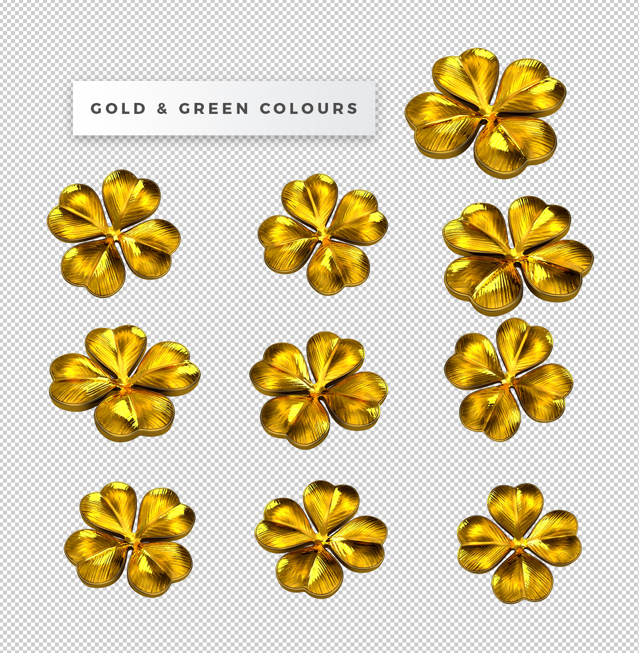 Free 3D Clover PNGs - Gold Version