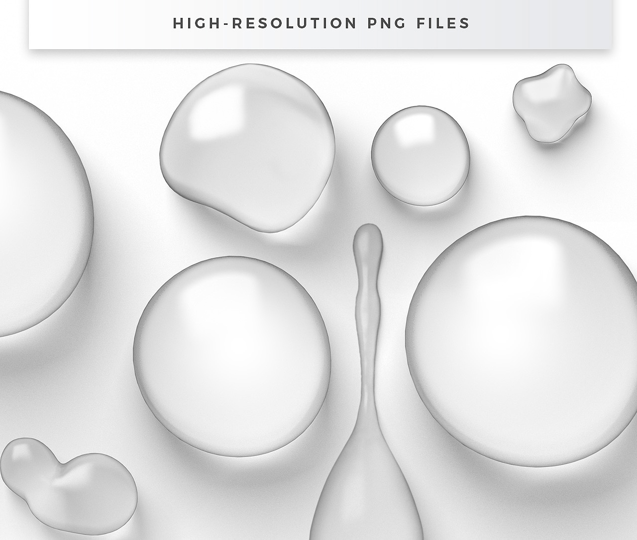 High-Resolution Transparent Water Drops PNGs