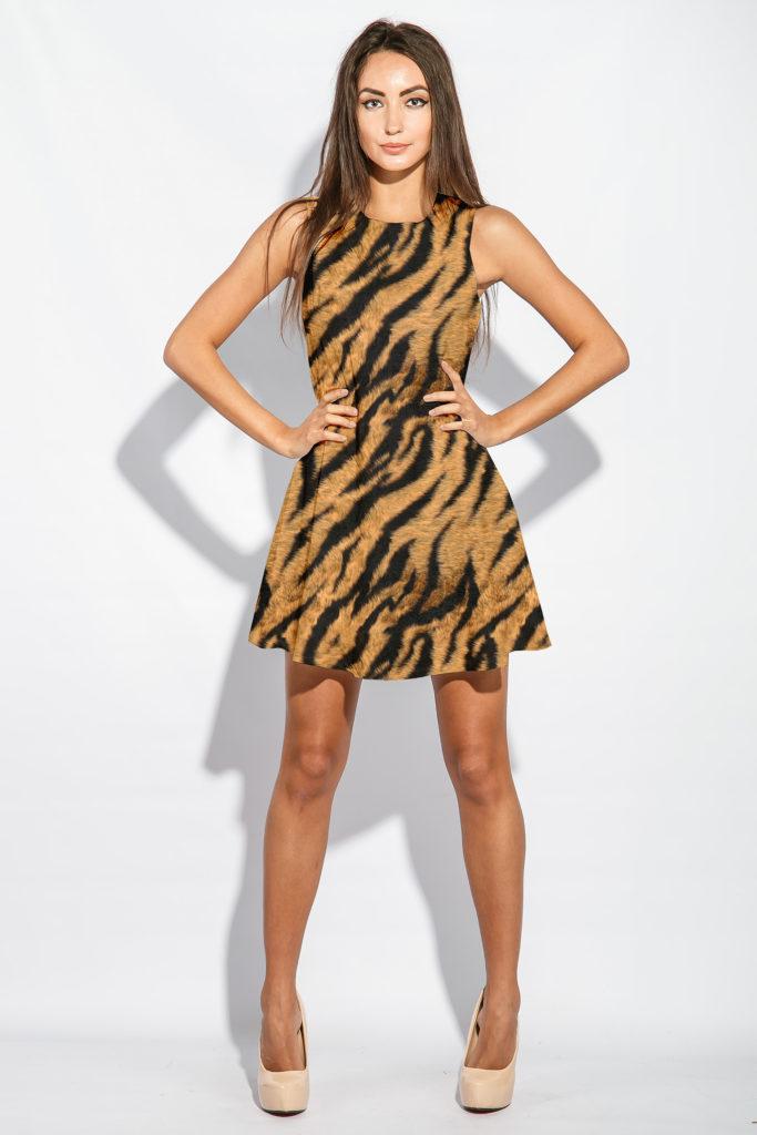 Tiger Print Fur Pattern - Dress Mockup
