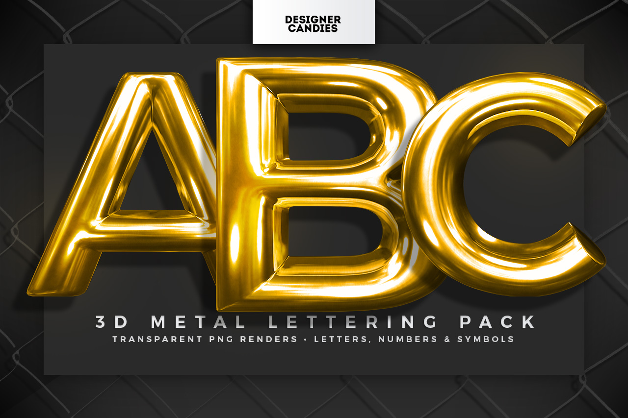 Download 3D Metal Lettering Pack - Chrome PNGs - DesignerCandies