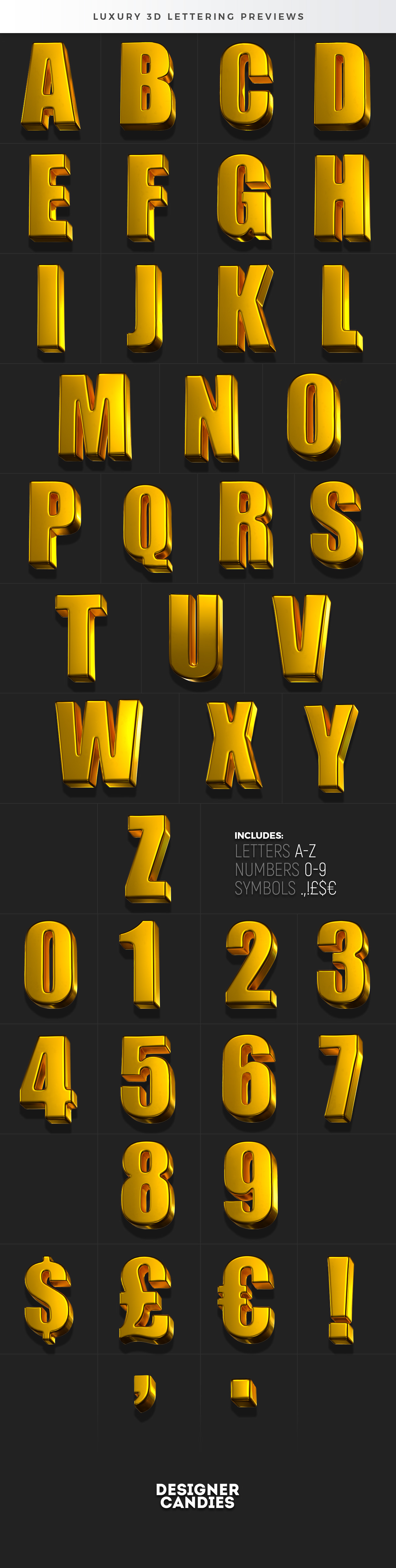 3D Gold Lettering PNGs / Photoshop PSD