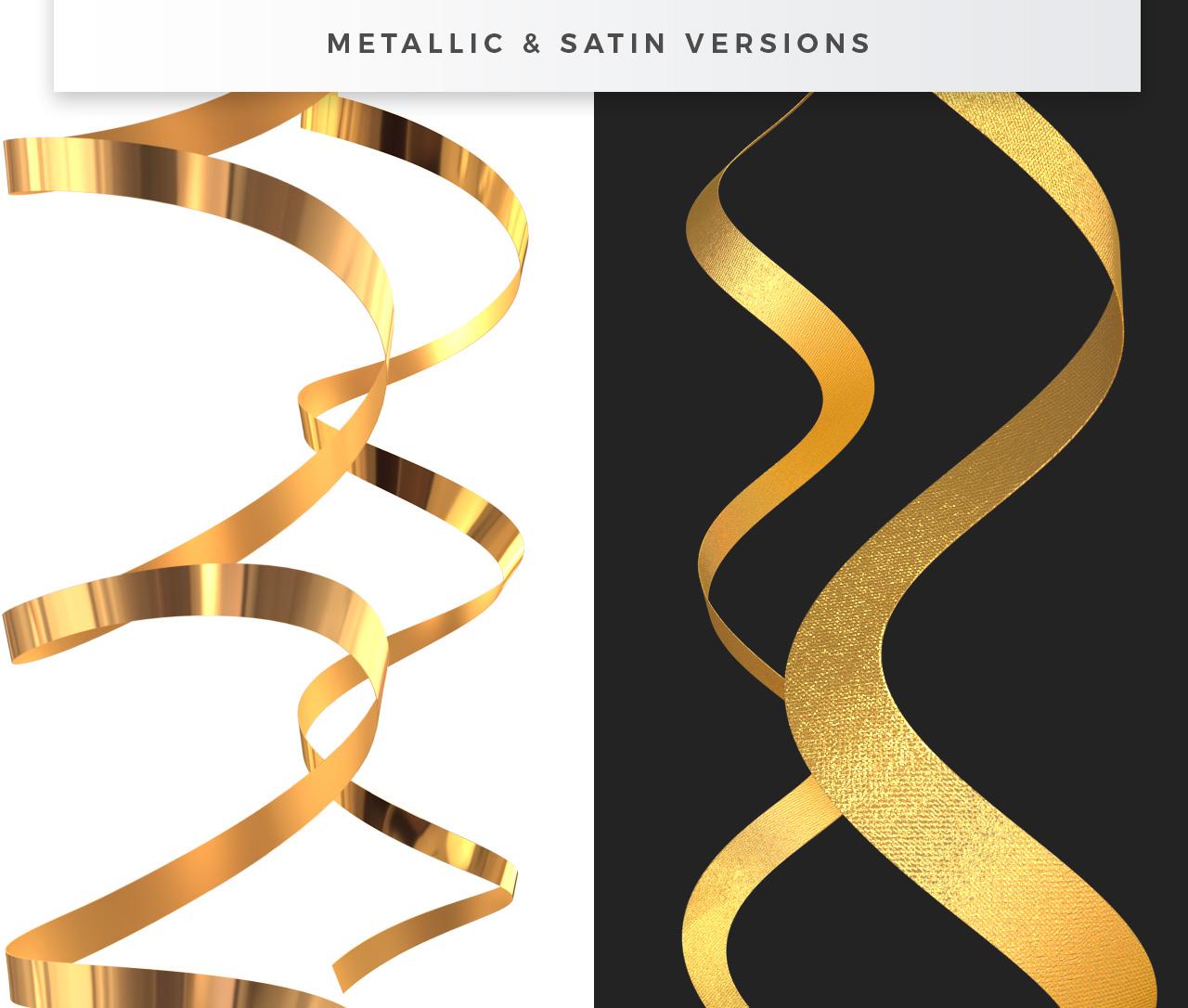 Metallic & Satin Ribbon PNGs