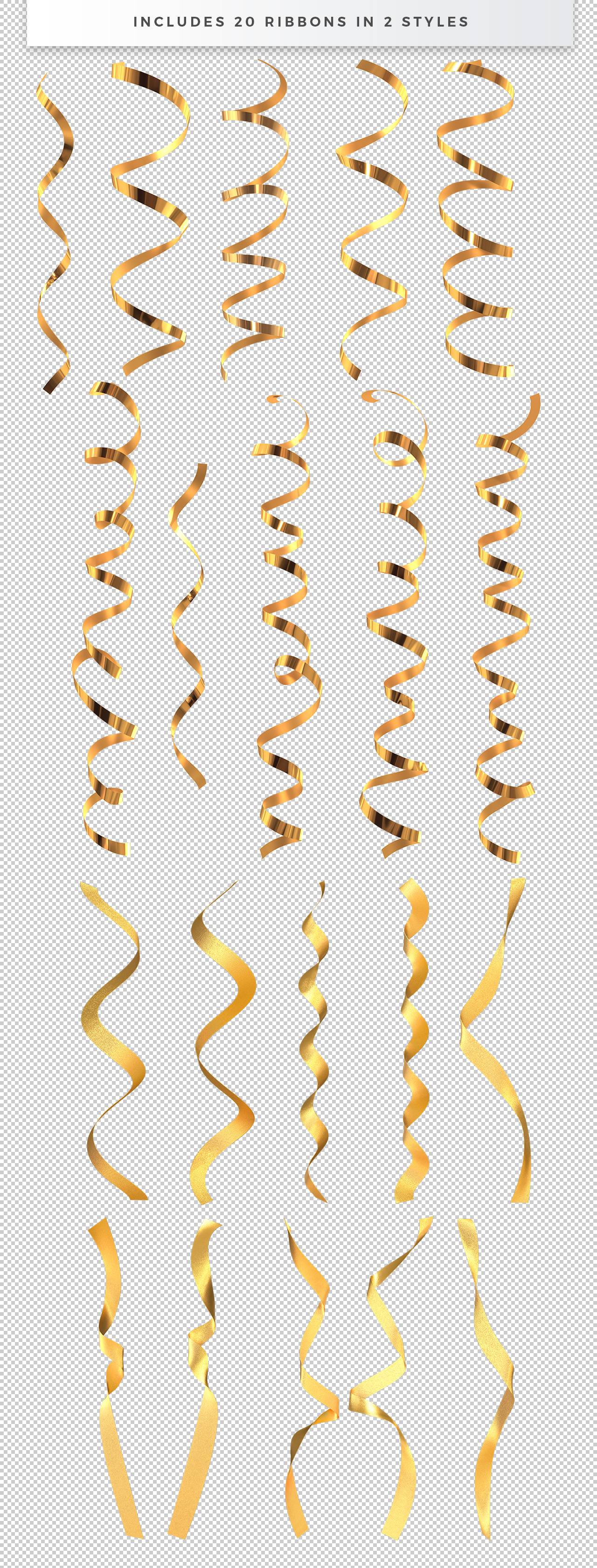 20 PNG Ribbons with Transparent Background