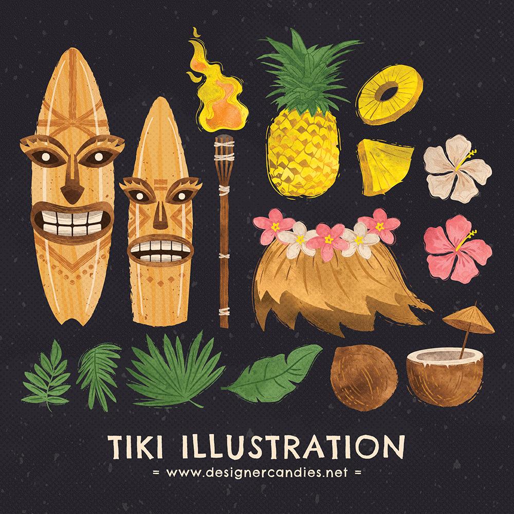 Tiki Illustrations, Illustrator & Photoshop Vectors