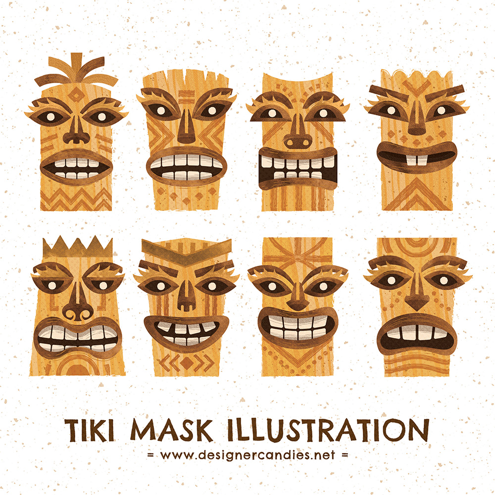 Vector Illustrations of Tiki style Totems & Idols