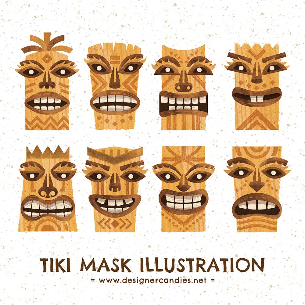 Vector Illustrations of Tiki style Totems & Idols