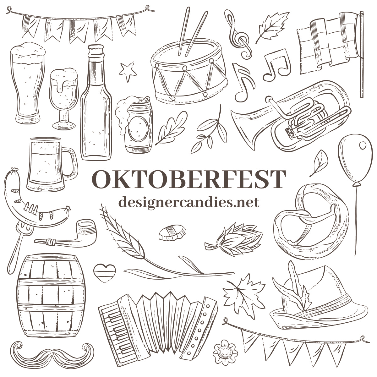 Oktoberfest Line Art Illustrations