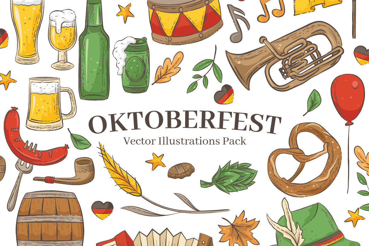 Oktoberfest Vector Illustrations for Photoshop & Illustrator