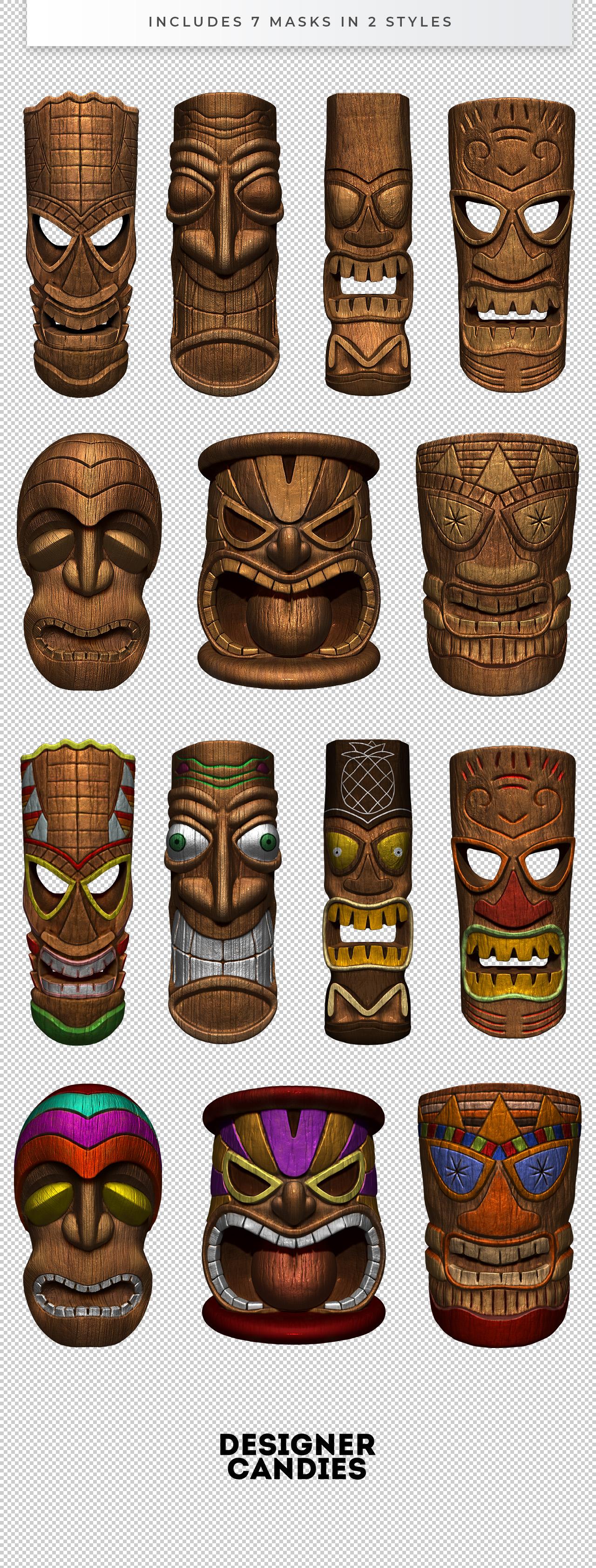 3D Tiki Totem Mask PNGs