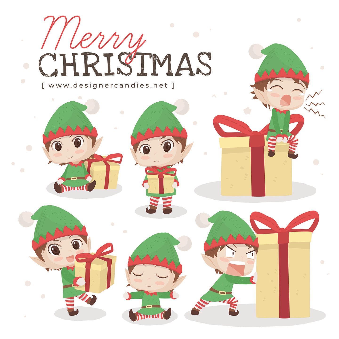 Christmas Elves Vector Illustrations