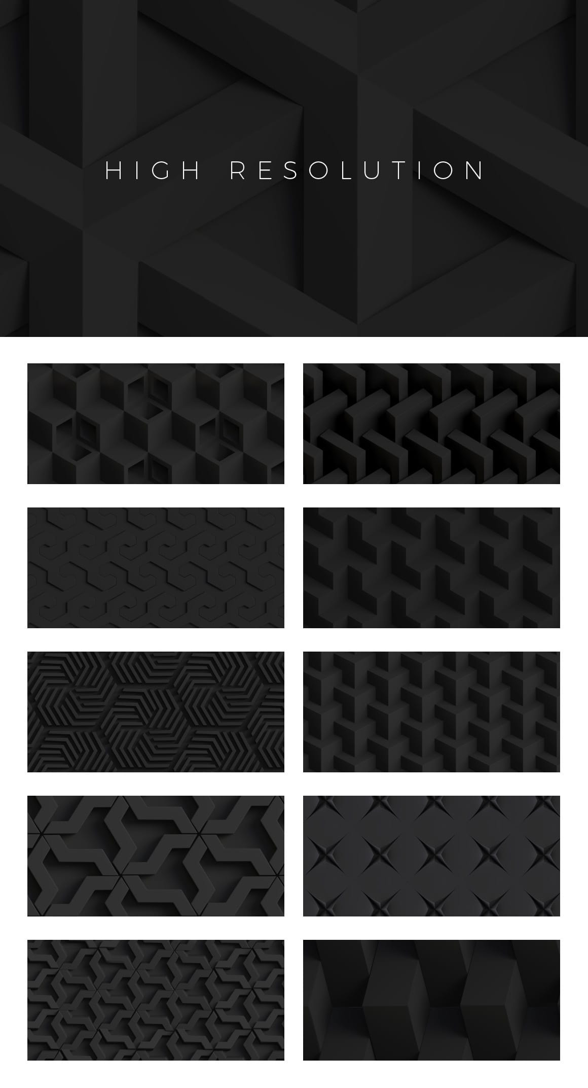 3D Matte Black Patterns for Photoshop