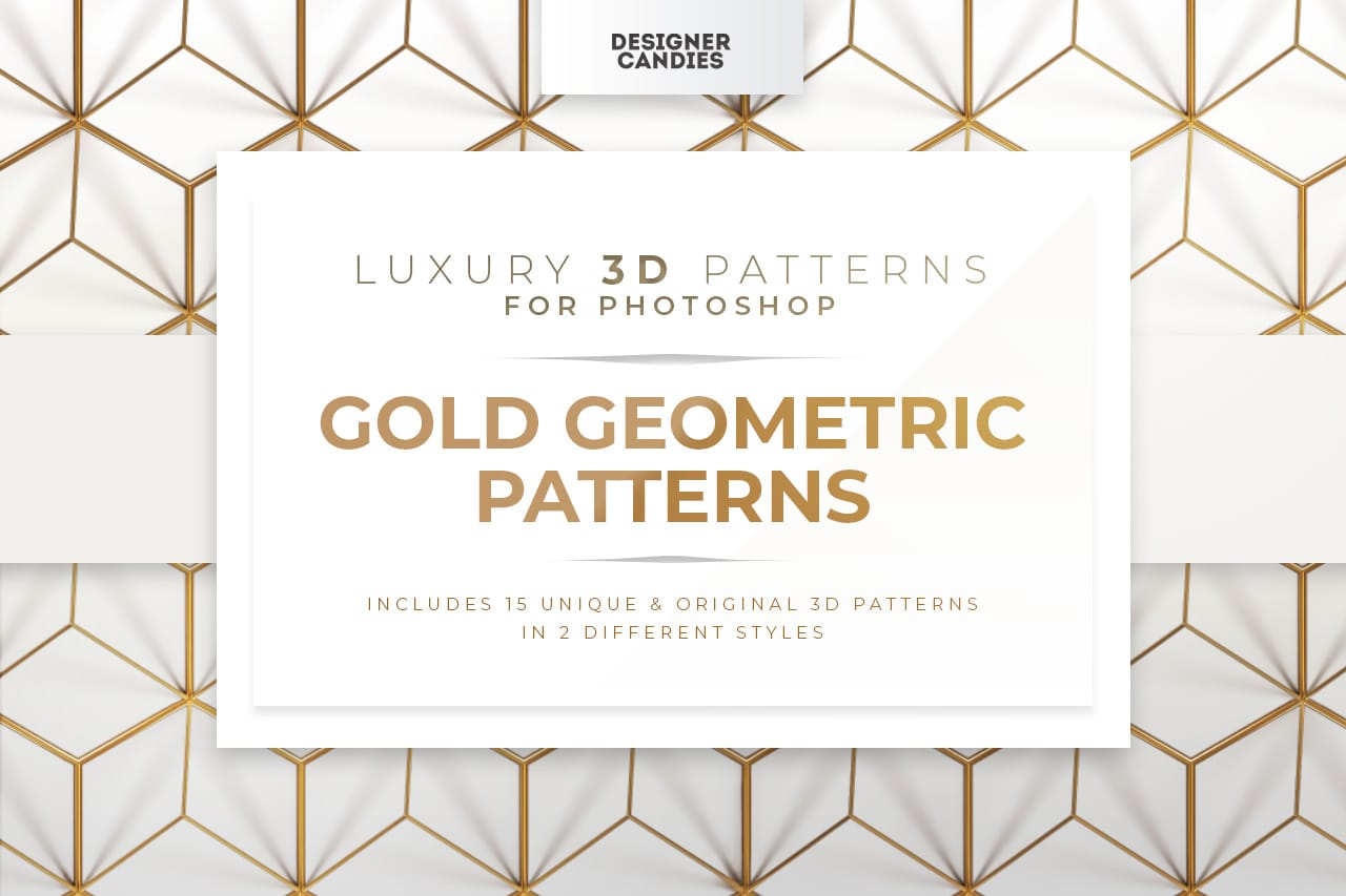 3D Gold Geometric Patterns for Photoshop