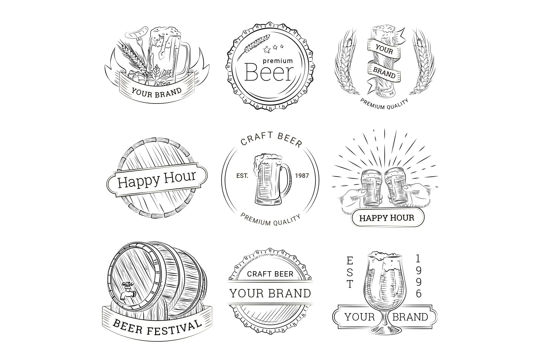 Beer Logo Illustrations