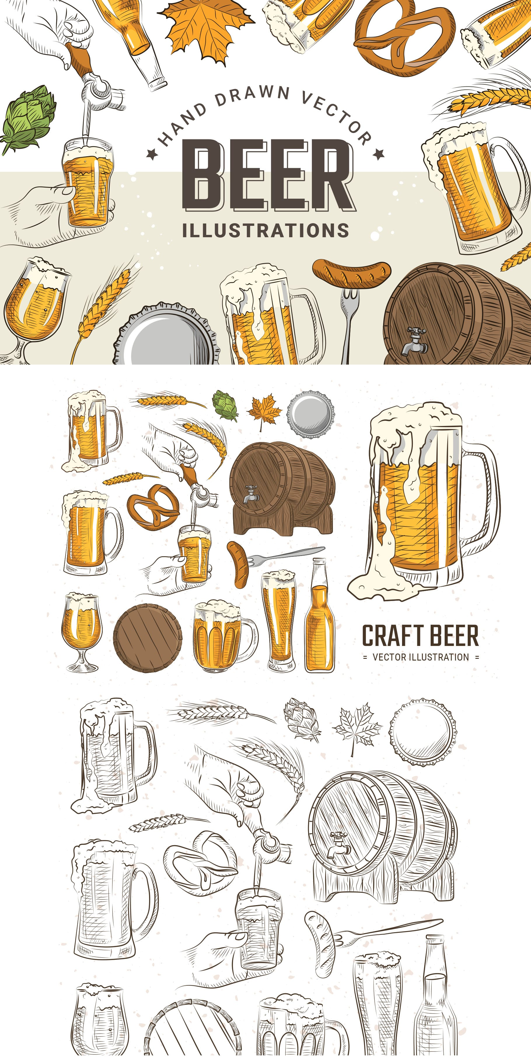 Hand Drawn Beer Illustration Vector