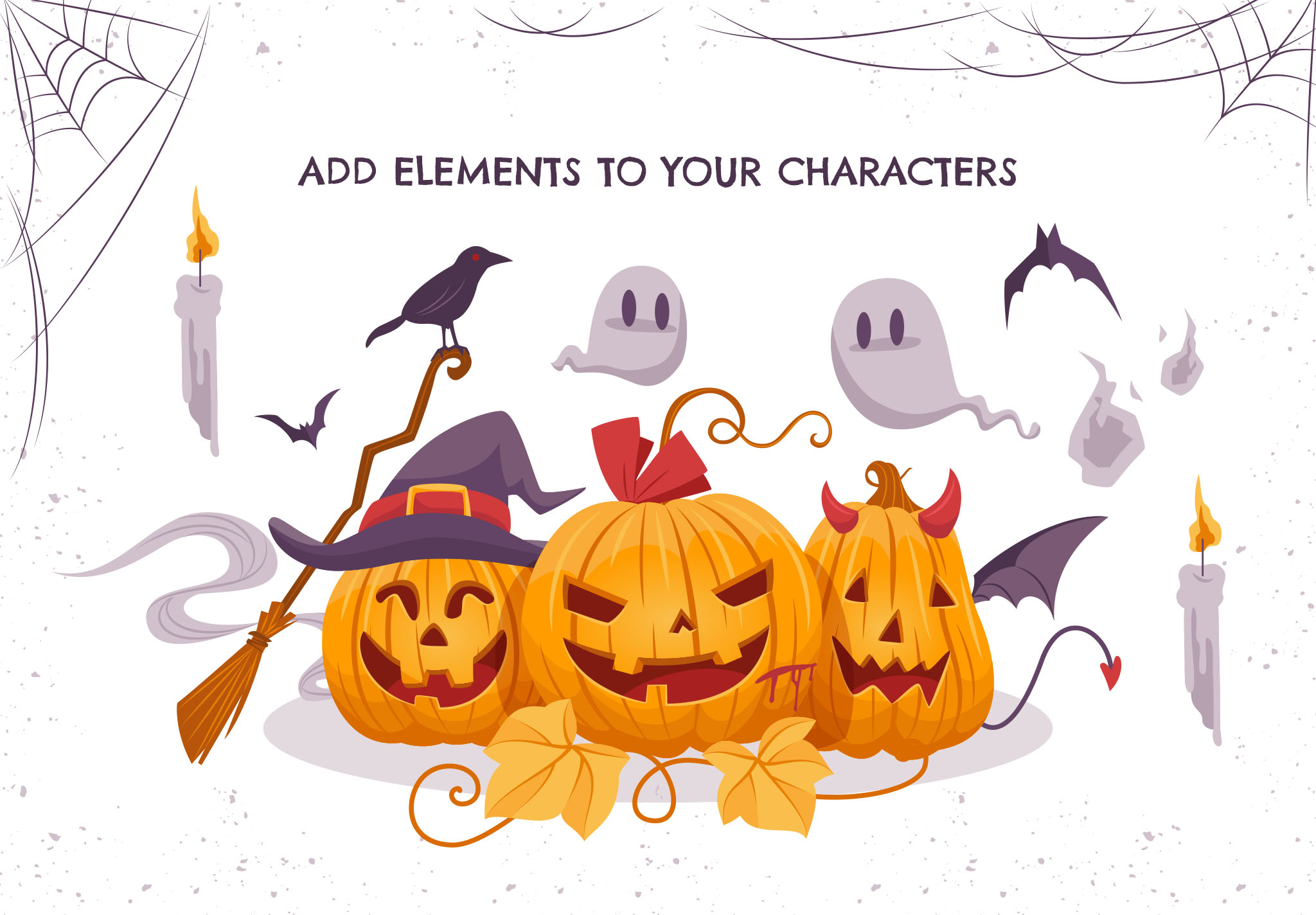 Halloween Pumpkin Character Illustrations