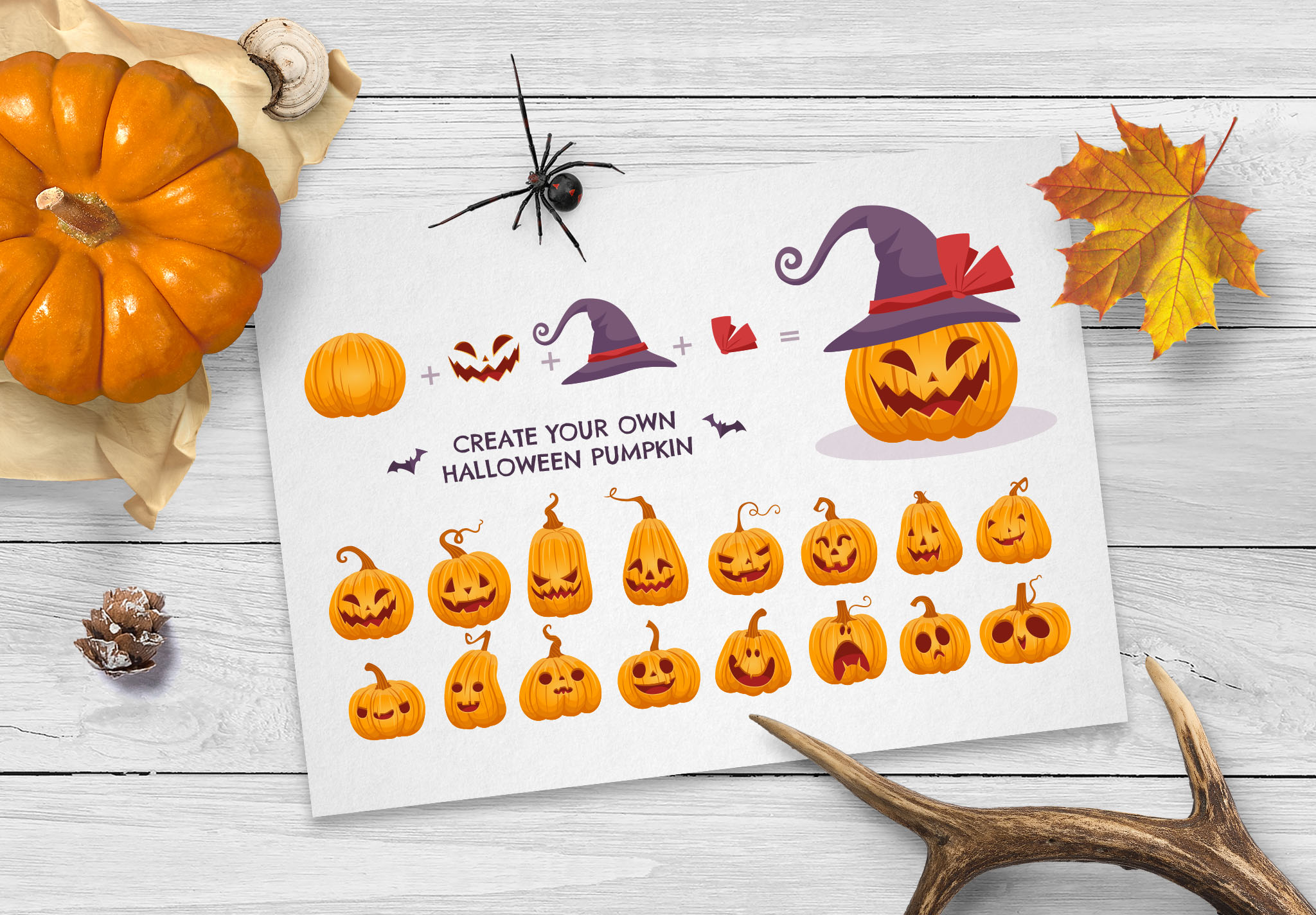 Halloween Pumpkin Face Vector Creator Kit