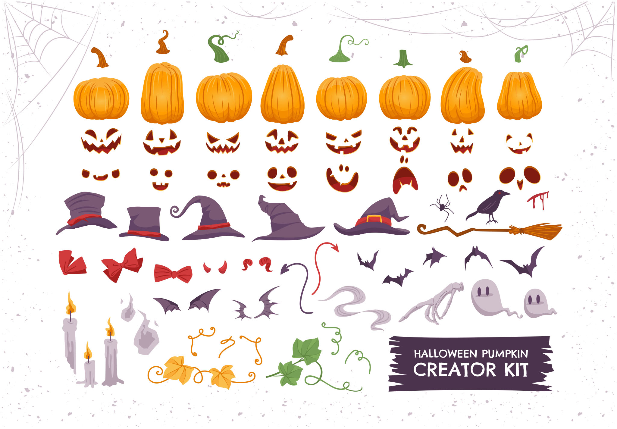Halloween Pumpkin Vector Illustrations for Photoshop & Illustrator