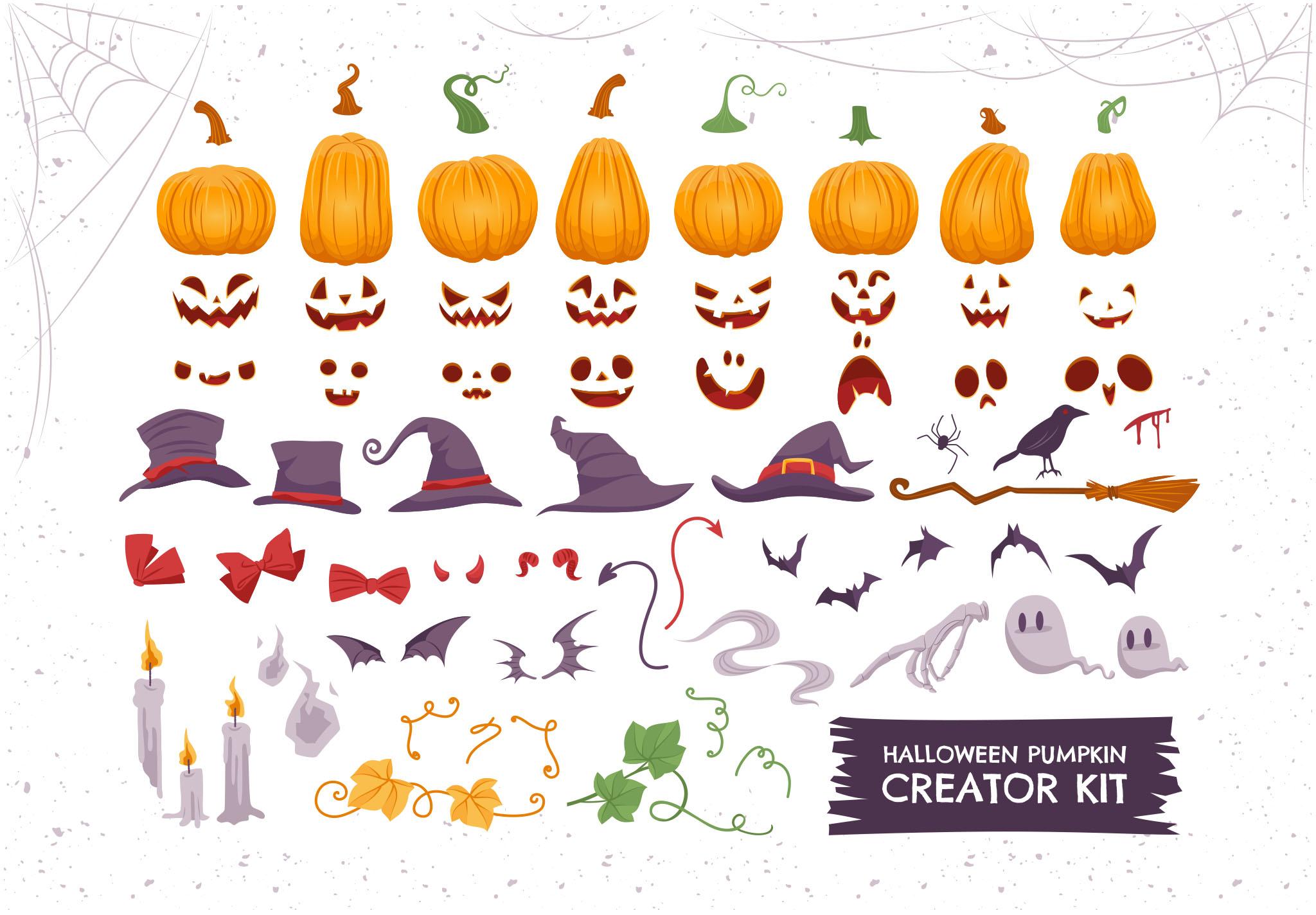 Halloween Pumpkin Vector Illustrations for Photoshop & Illustrator