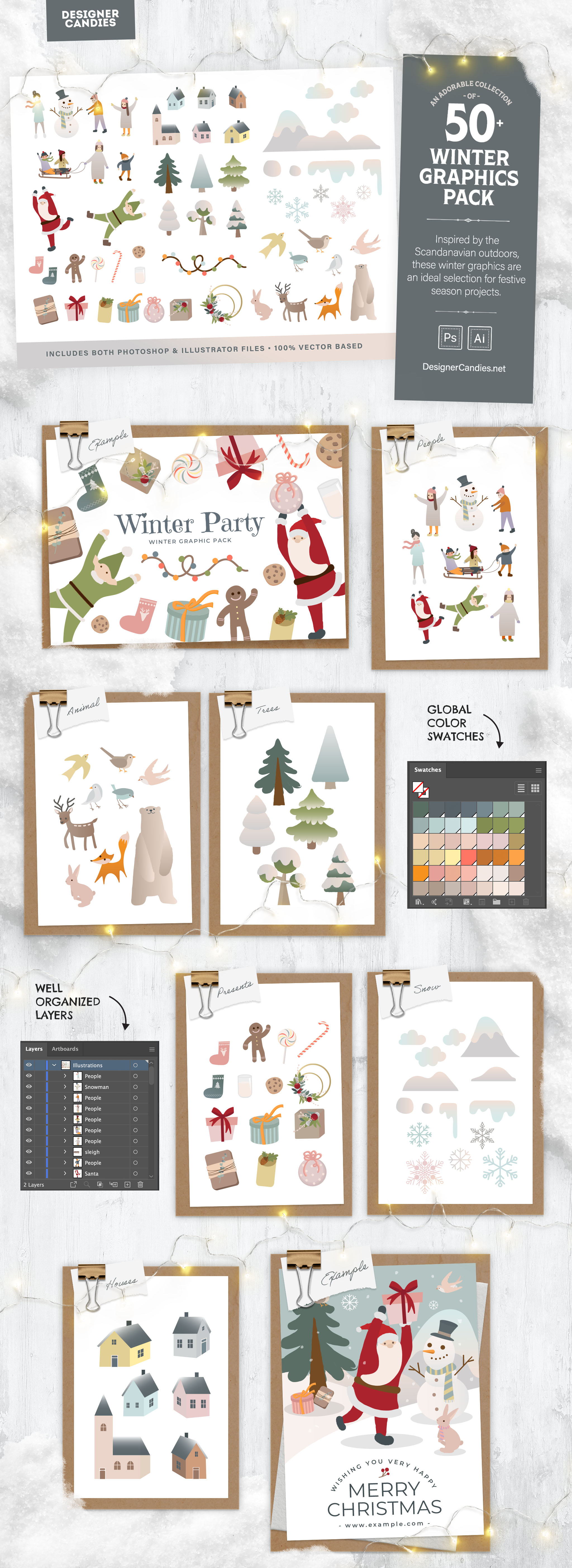 Winter Graphics Pack with 50 Vector Illustrations for Adobe Photoshop & Illustrator
