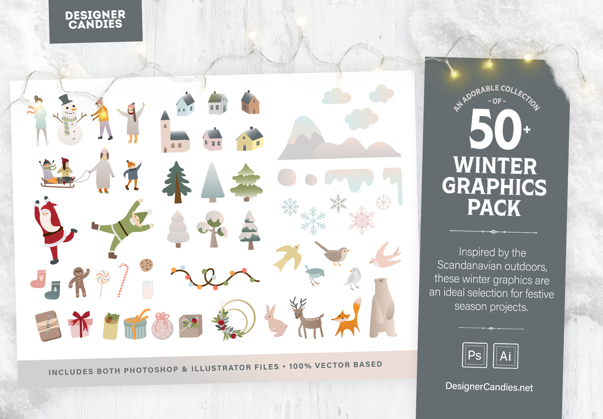 Winter Graphics Pack - 50+ Vector Illustrations for Photoshop & Illustrator