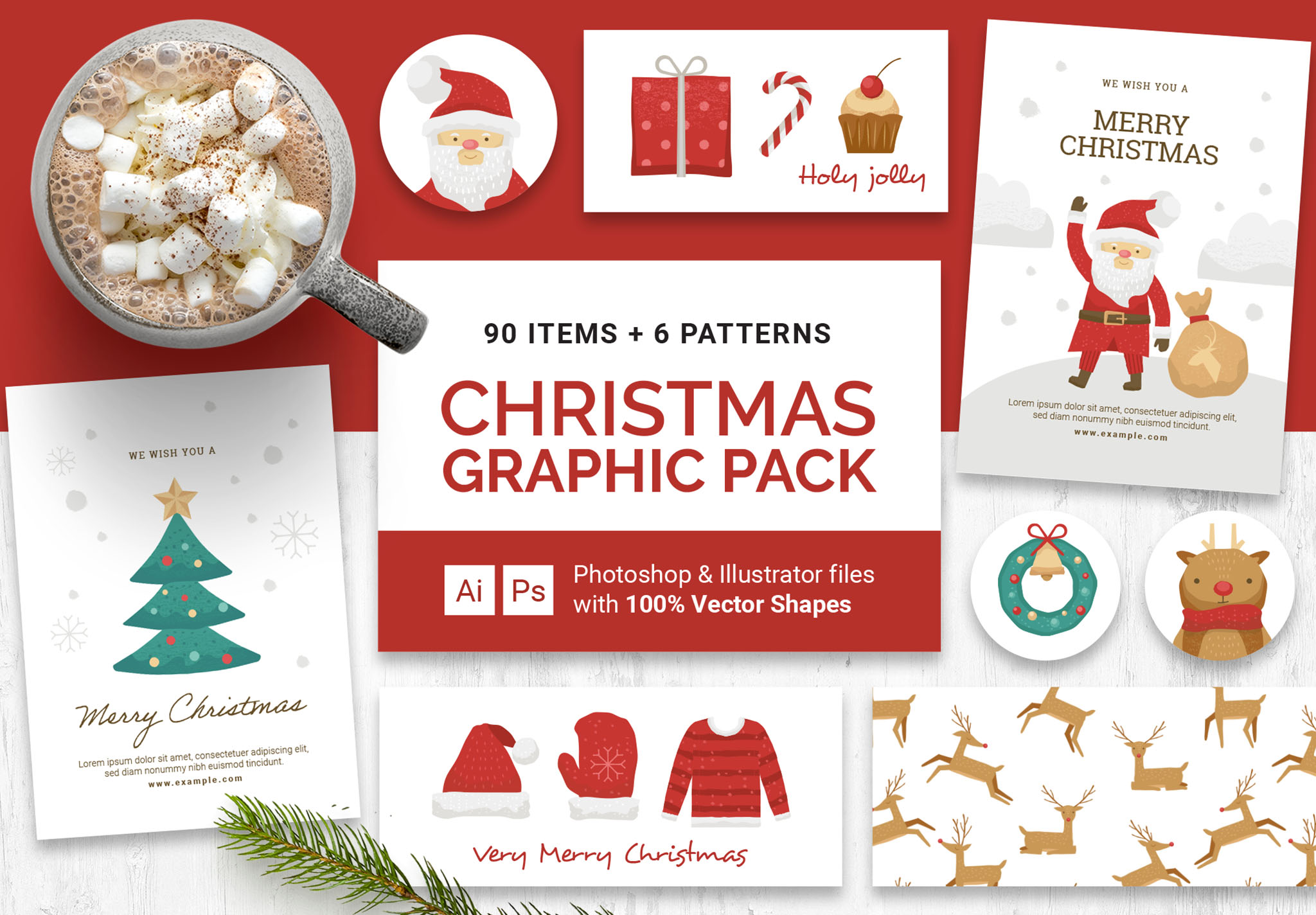 Christmas Vector Graphics Pack for Photoshop & Illustrator