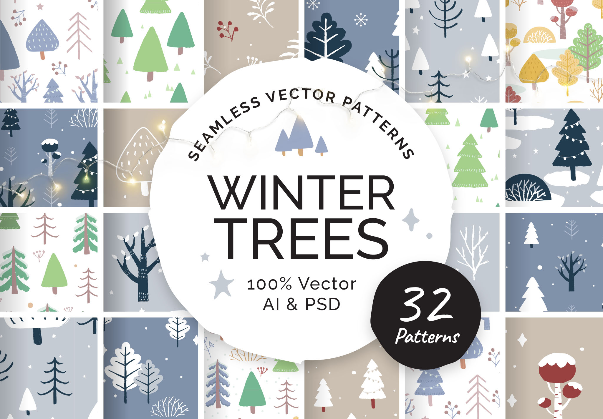 Winter Christmas Tree Patterns for Photoshop & Illustrator