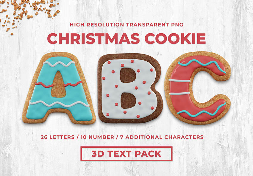 Christmas Cookie 3D Text Pack