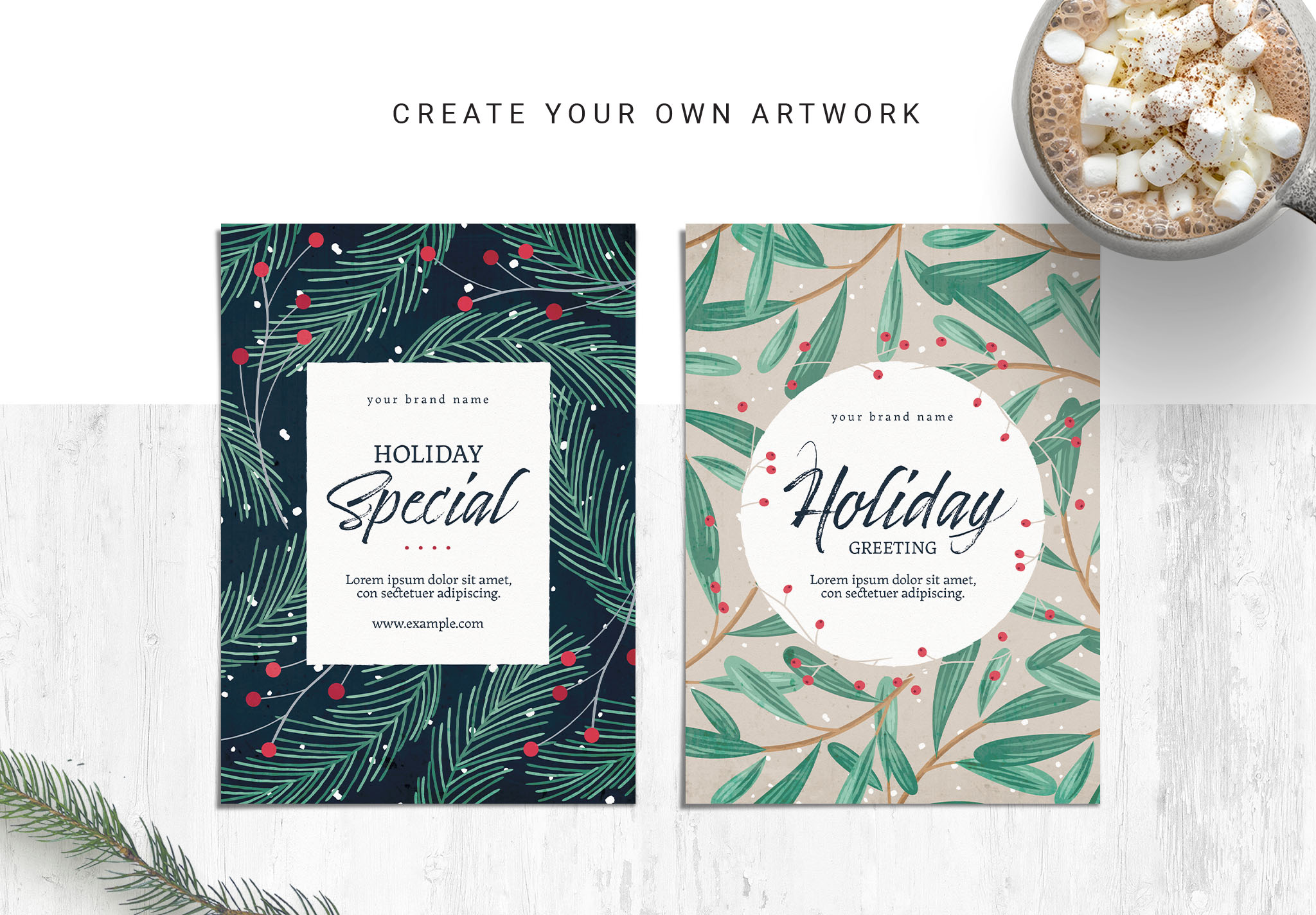 Christmas Postcard / Invitation Templates for Photoshop & Illustrator