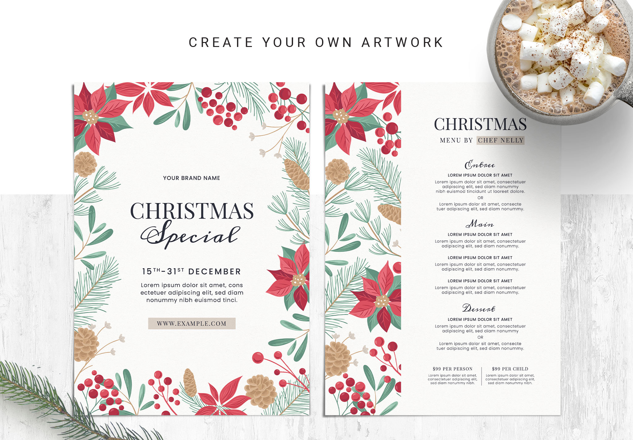 Christmas Menu Flyer Templates for Photoshop & Illustrator