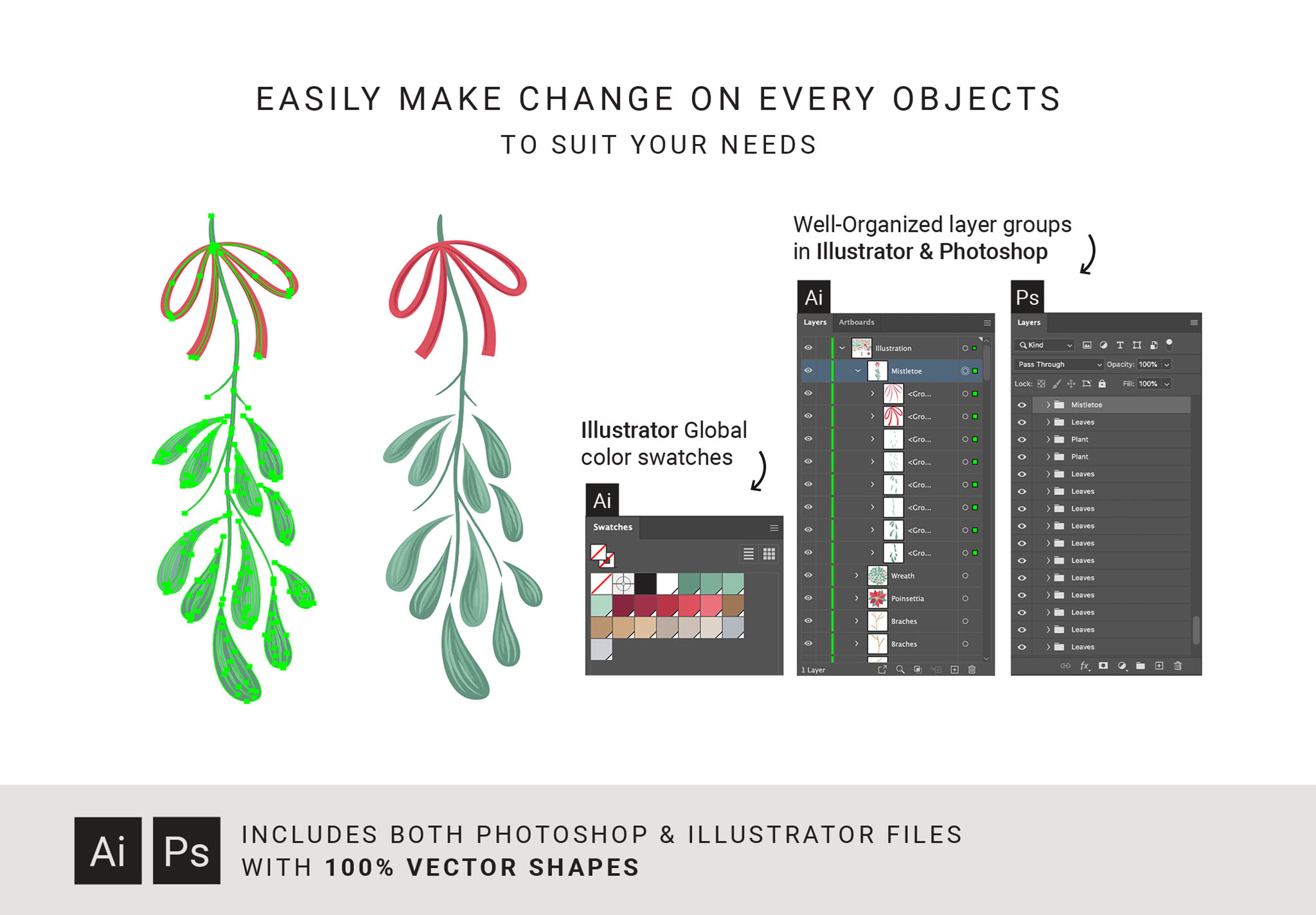 Festive Christmas Graphics Pack (for Photoshop & Illustrator)