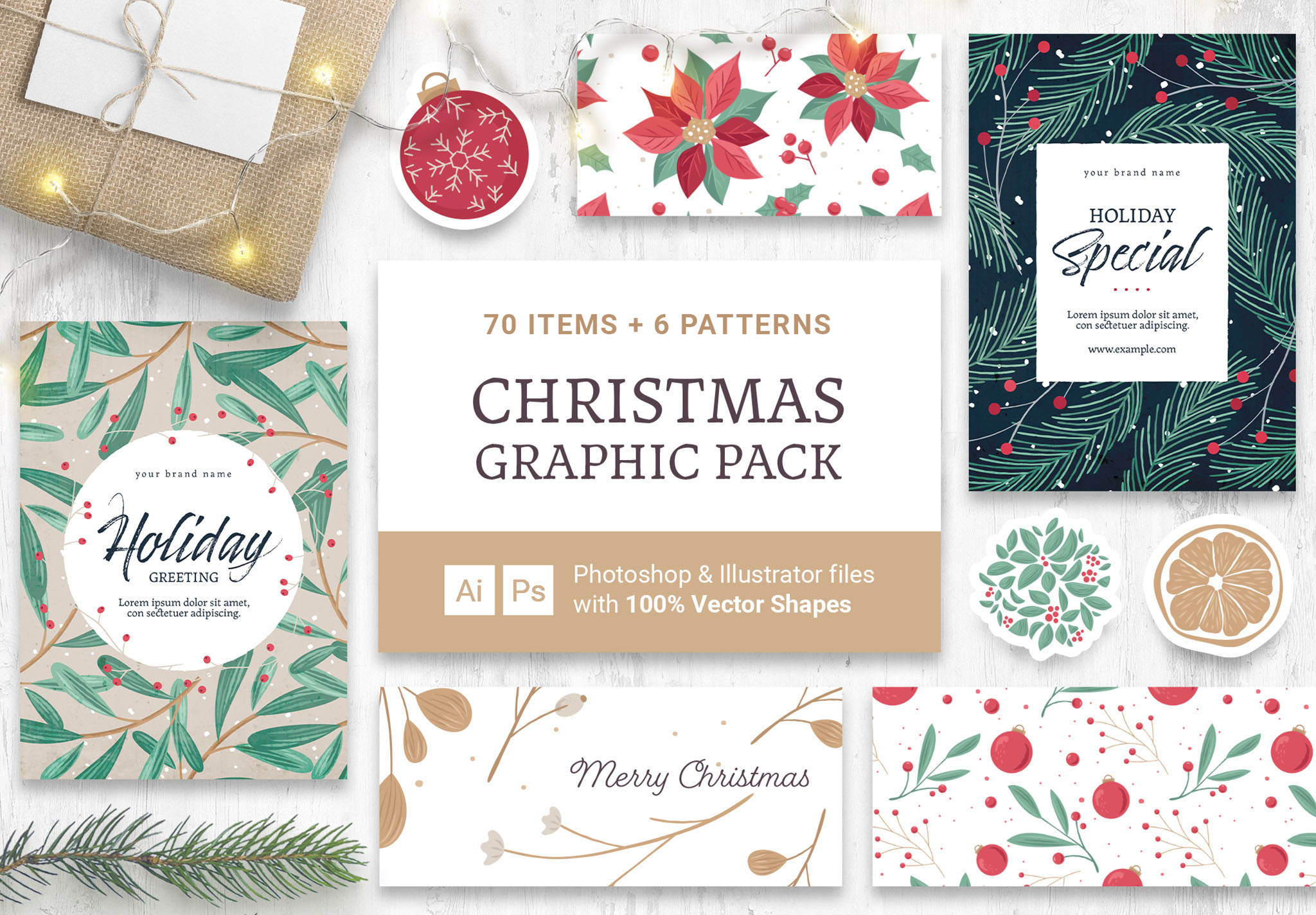 Festive Christmas Vector Graphics for Photoshop & Illustrator