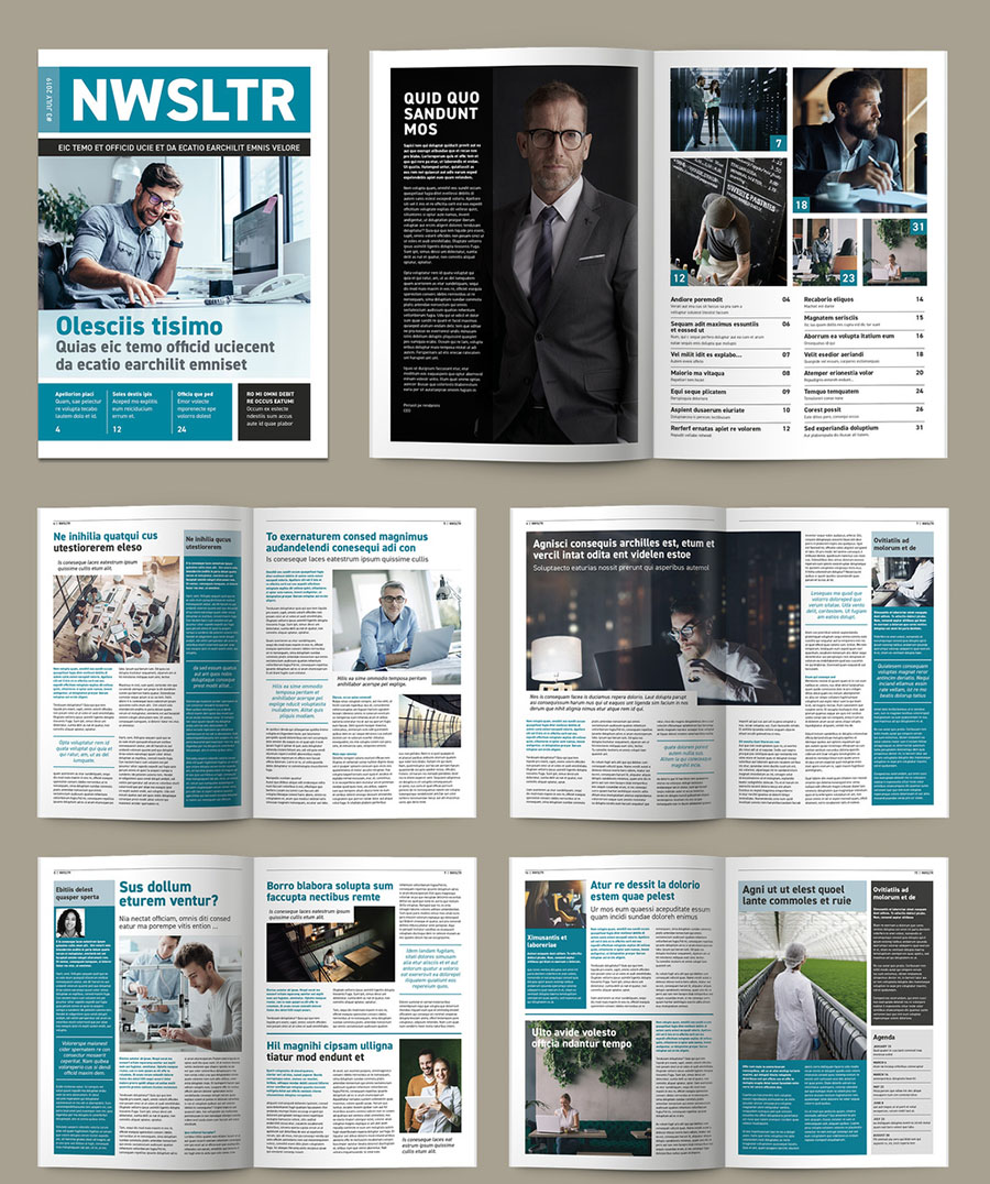 Teal and White Newsletter or magazine Layout