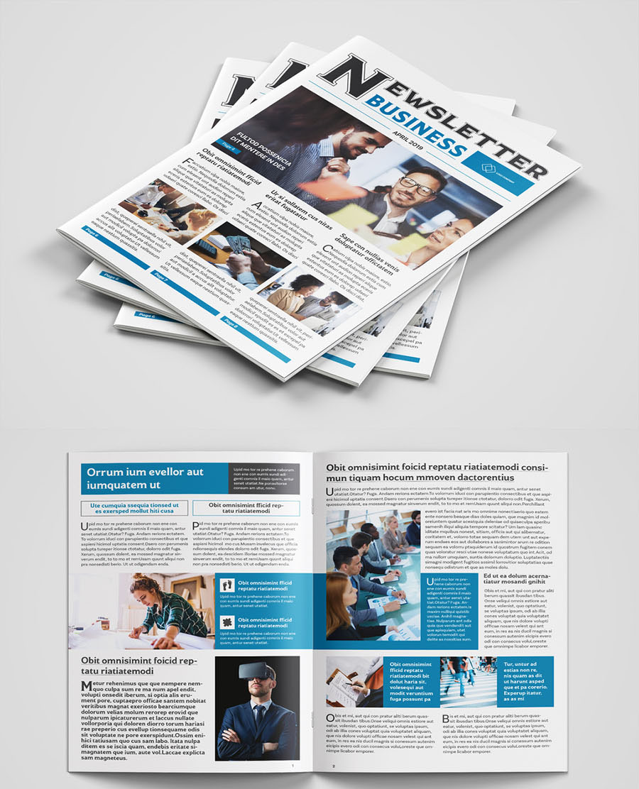 Business Newsletter Layout with Blue Accents