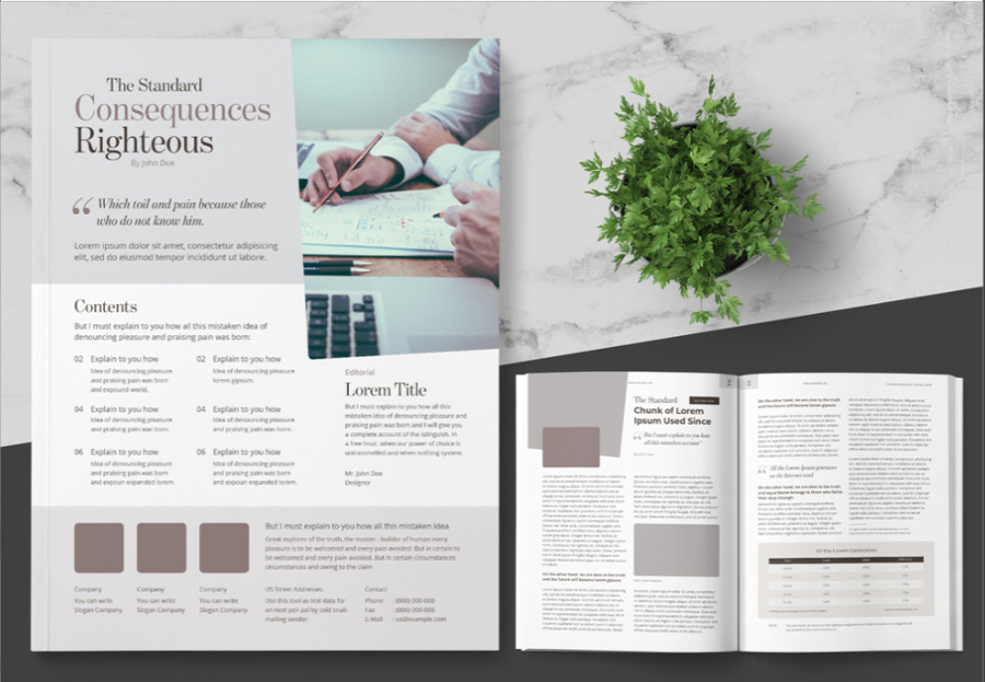 Business Newsletter Layout with Tan Accents