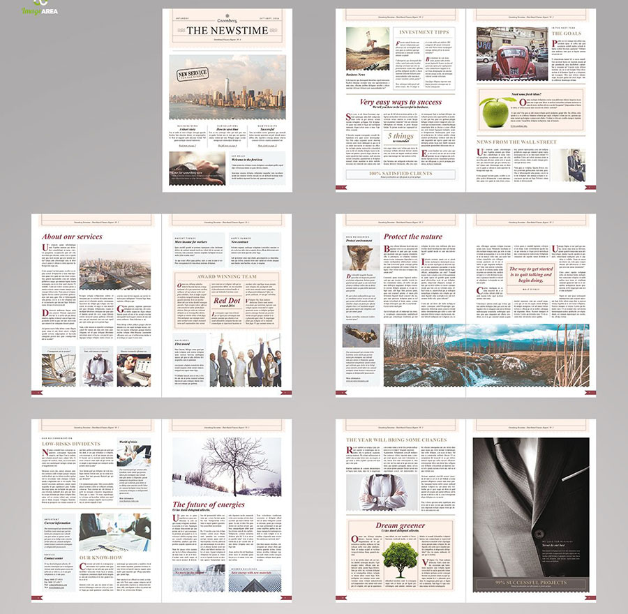 Business Newsletter Template with 24 pages for Adobe InDesign
