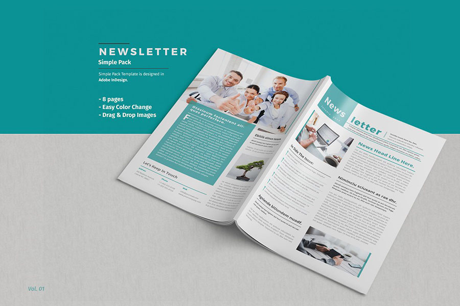 Classic Teal Newsletter Template