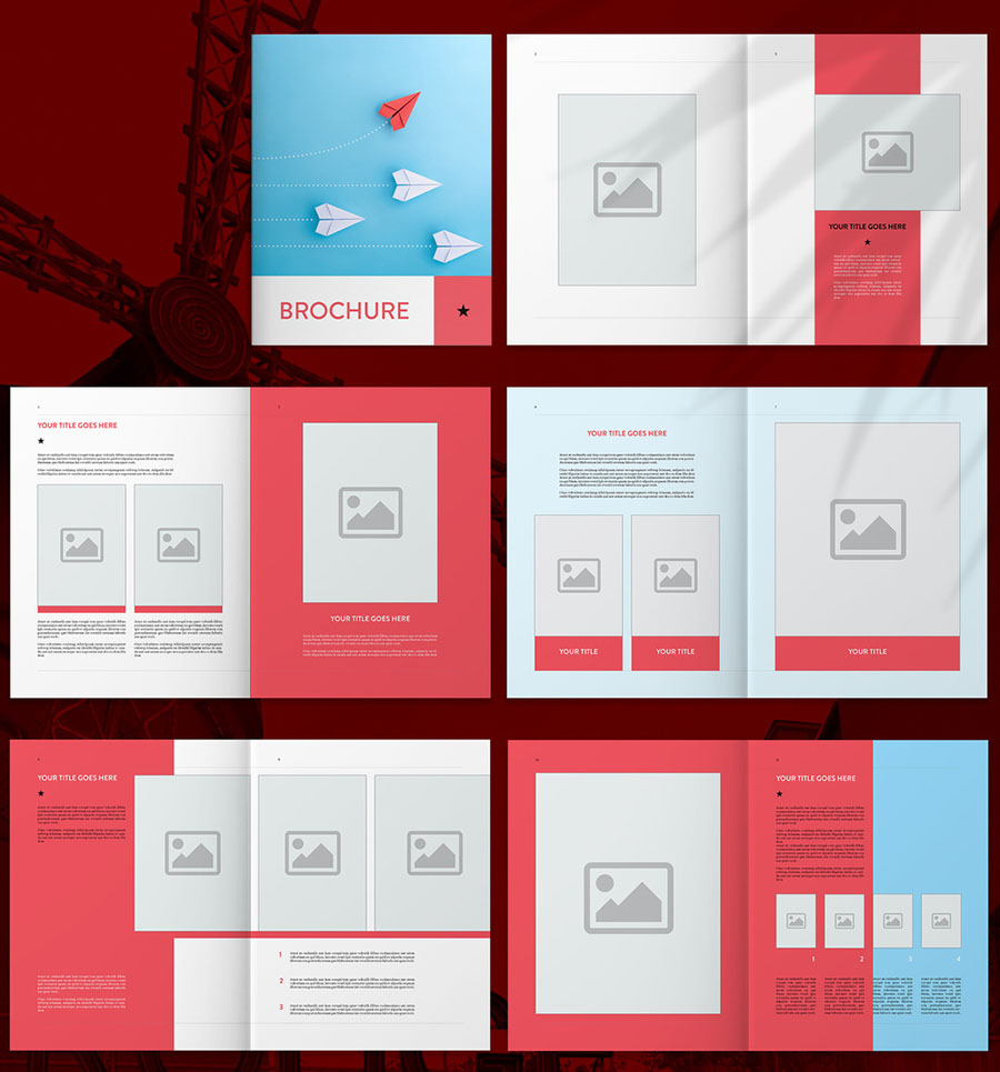 Blue and Red InDesign Brochure Templates