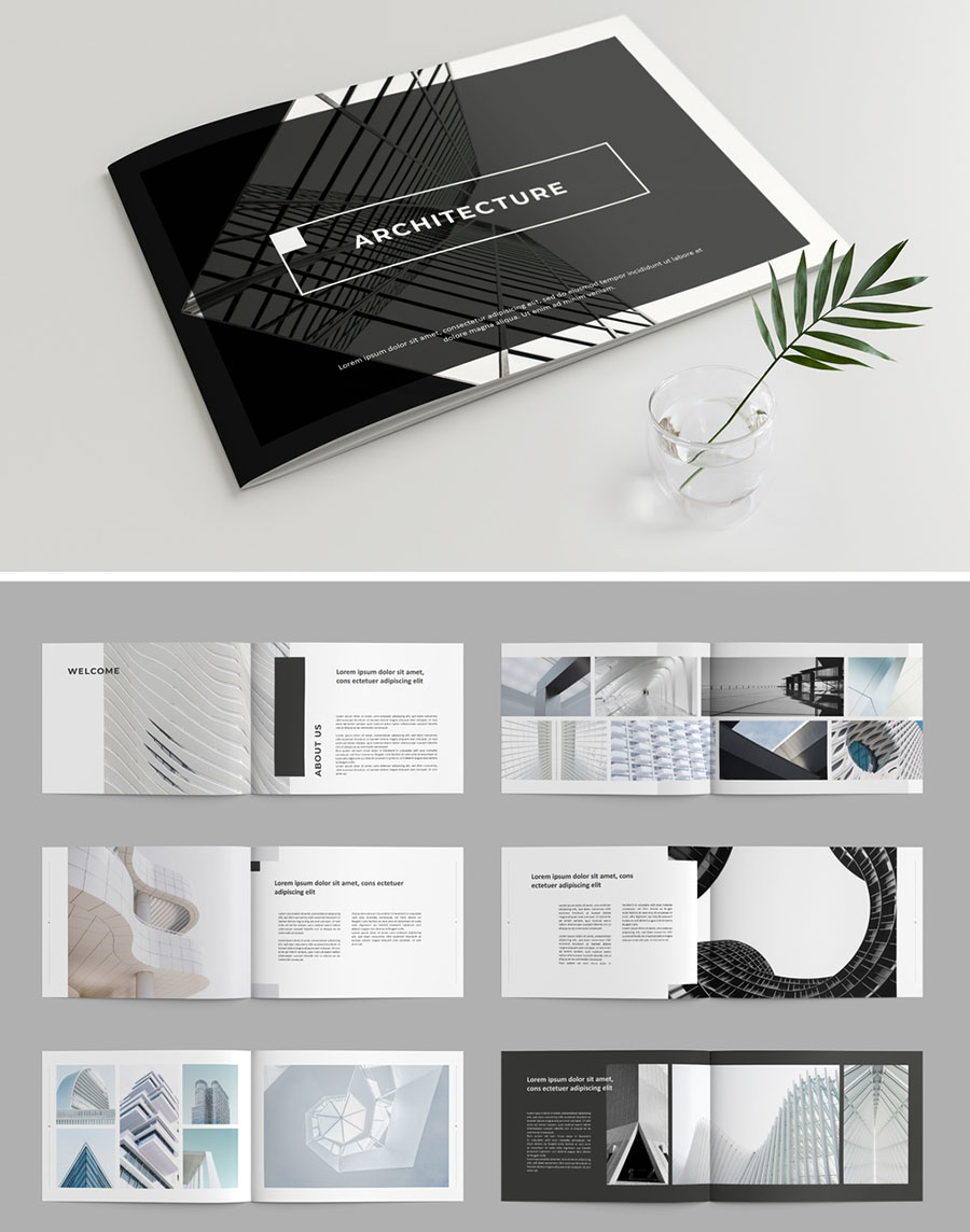 Brochure Layout with Gray Accents