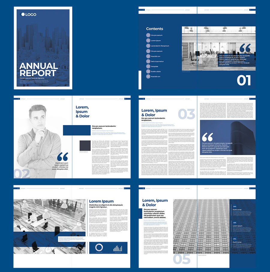 Blue and White Annual Report Brochure Layout