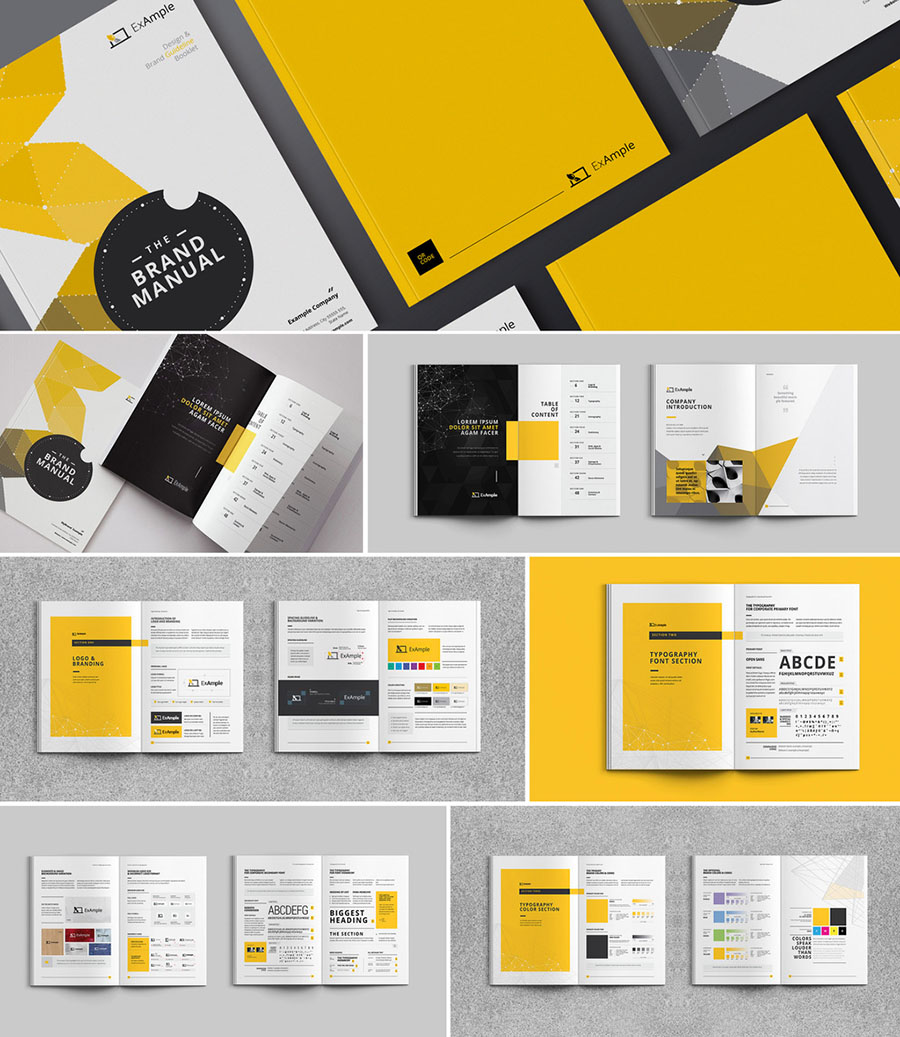 Black and Yellow Brand Style Guide Brochure Layout