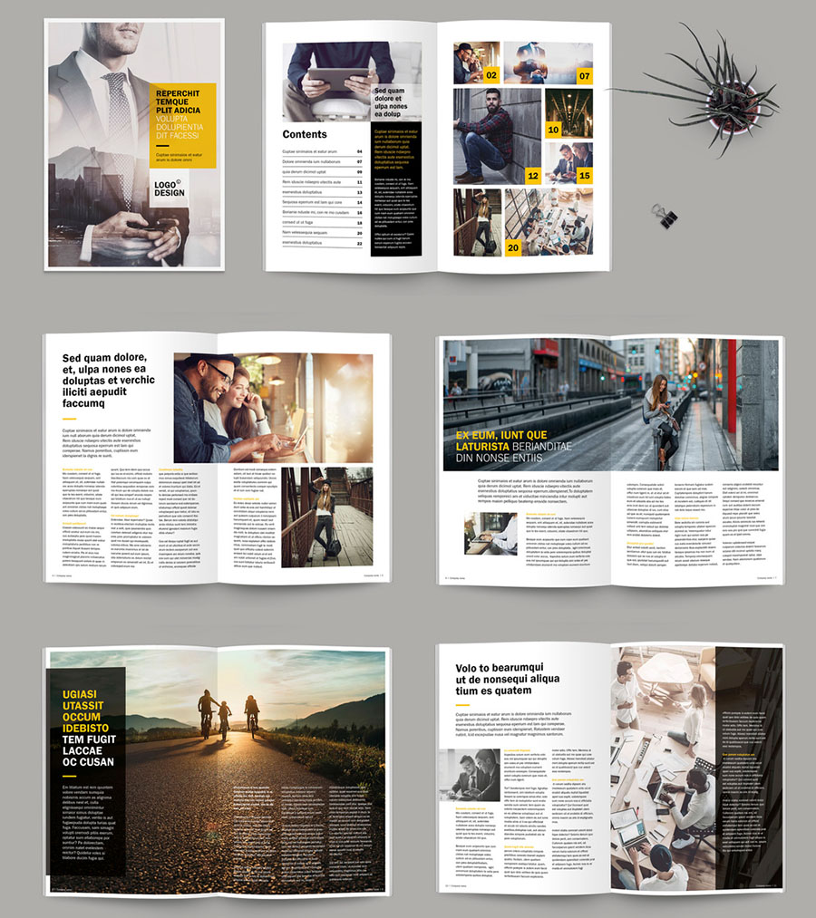 Brochure/Magazine Layout with Yellow Accents