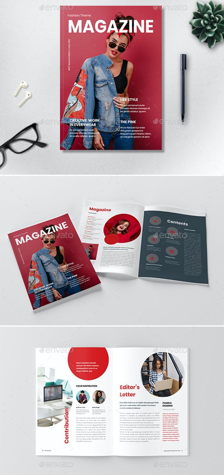 Fashion Theme InDesign Magazine Template