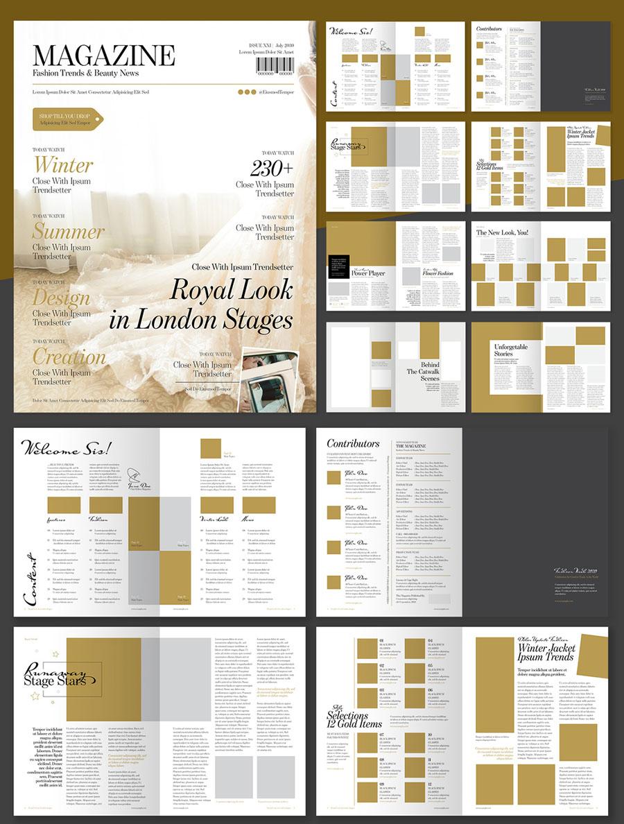 Elegant Fashion Magazine Layout with Gold Accents