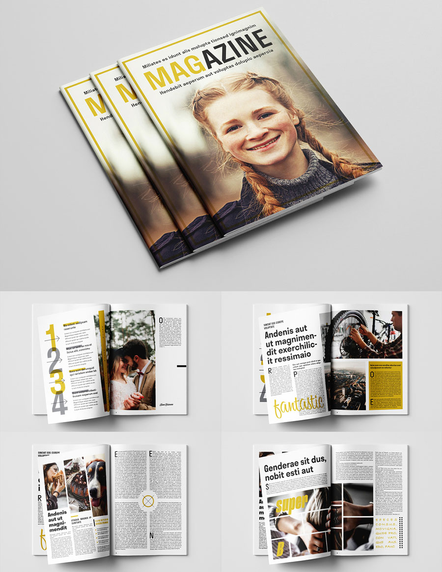 Magazine Layout with Yellow Accents