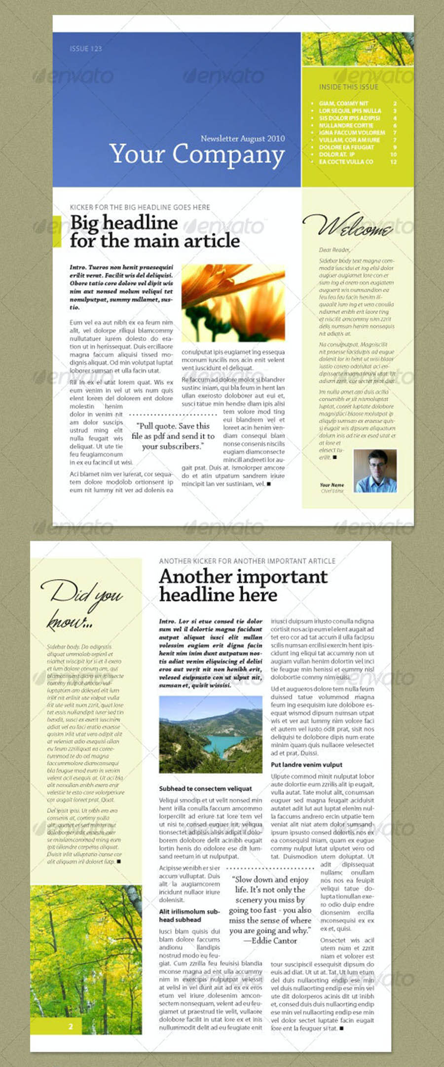 InDesign Newsletter Templates Fresh Green (4 pages)