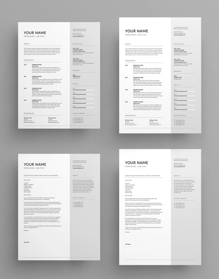 Contemporary InDesign Resume and Cover Letter Layout